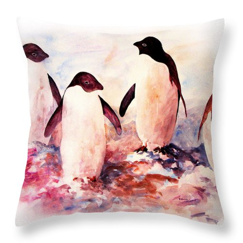 Penguins Throw Pillow featuring the painting Dissident by Rachel Christine Nowicki