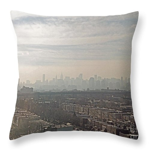 Brooklyn Throw Pillow featuring the photograph Distant City by Paulette B Wright
