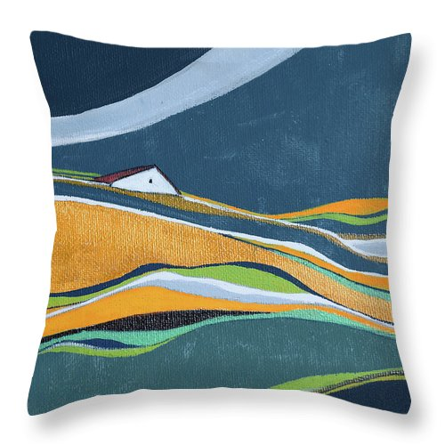 Abstract Throw Pillow featuring the painting Distant House by Aniko Hencz