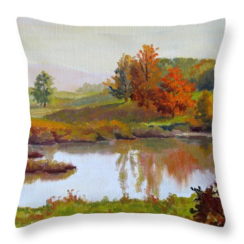 Landscape Throw Pillow featuring the painting Distant Maples by Keith Burgess