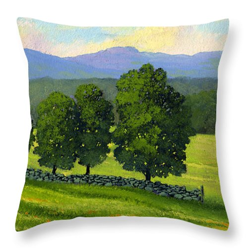 Landscape Throw Pillow featuring the painting Distant Mountains by Frank Wilson