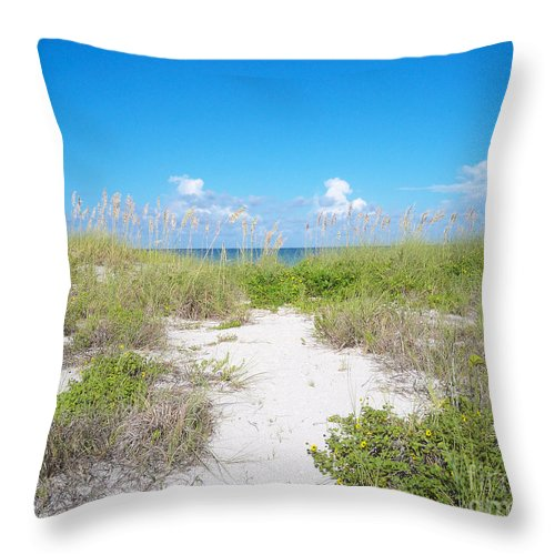Florida Throw Pillow featuring the photograph Distant Sea by Chris Andruskiewicz