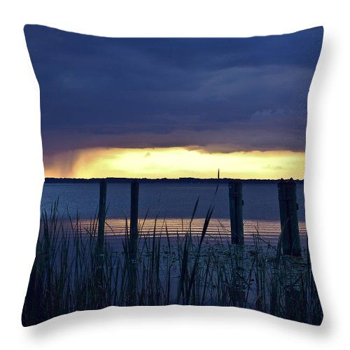 Lake Throw Pillow featuring the digital art Distant Storms At Sunset by DigiArt Diaries by Vicky B Fuller