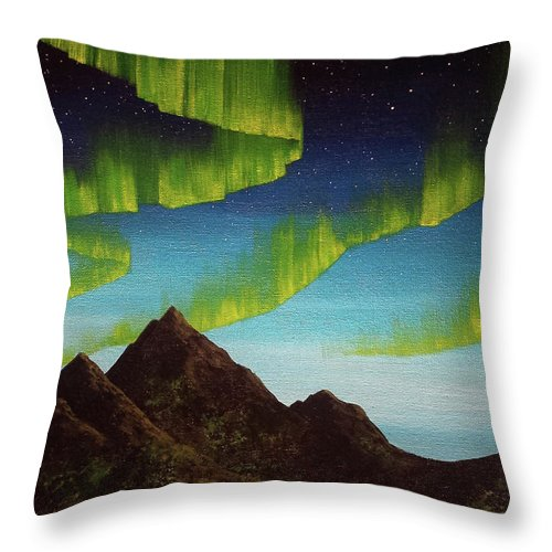 Aurora Borealis Northern Lights Mountains Night Sky Throw Pillow featuring the painting Distracted By Diversions by Beth Waltz