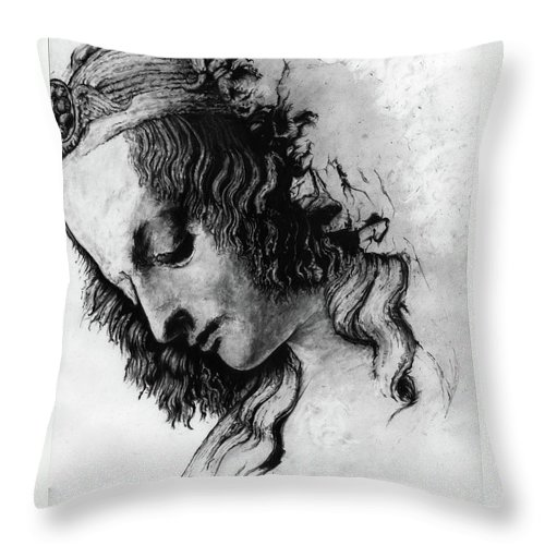 Portrait Woman Leonardo Da Vinci Italian Ancient Renaissance Reproduction Mary Magdalene Christ Code Throw Pillow featuring the drawing Districhi Di Magdalene by Priscilla Vogelbacher