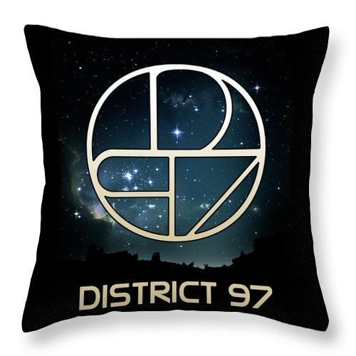 Throw Pillow featuring the digital art District 97 Logo by District 97