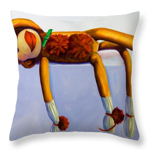 Diva Throw Pillow featuring the painting Diva Made Of Sockies by Shannon Grissom