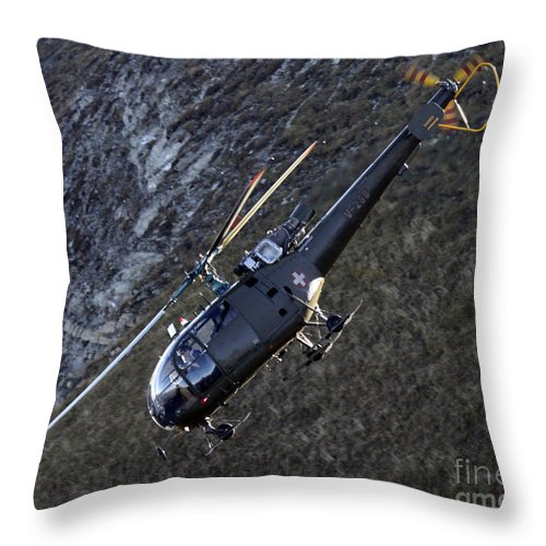 Helicopter Throw Pillow featuring the photograph Dive by Angel Ciesniarska