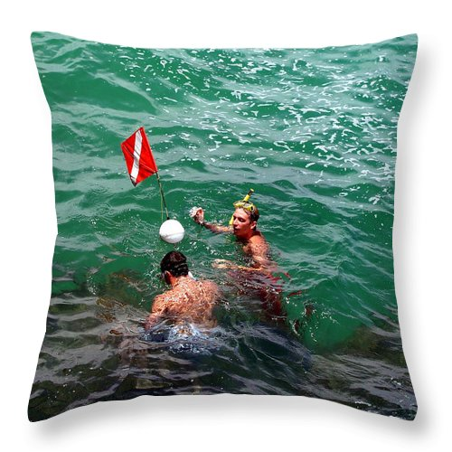 Boys Throw Pillow featuring the photograph Divers At Sebastian Inlet On The Atlantic Coast Of Florida by Allan Hughes