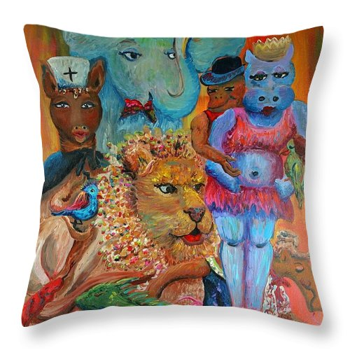 Diversity Throw Pillow featuring the painting Diversity by Nadine Rippelmeyer
