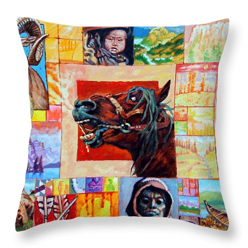 American Indian Throw Pillow featuring the painting Divided Land - Crying Horse by John Lautermilch