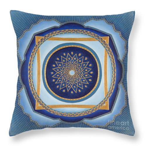 Mandala Throw Pillow featuring the painting Divine Feminine - Cathedral Series by Charlotte Backman