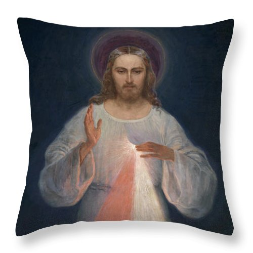 Eugene Kazimierowski Throw Pillow featuring the painting Divine Mercy by Eugene Kazimierowski