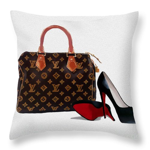Christian Louboutin Throw Pillow featuring the mixed media Divine by My Inspiration