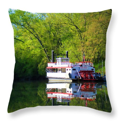 Shaker Throw Pillow featuring the photograph Dixie Belle River Boat by Sam Davis Johnson