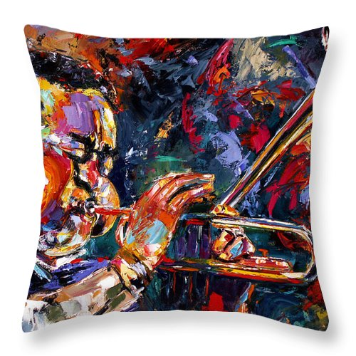 Jazz Throw Pillow featuring the painting Dizzy Gillespie by Debra Hurd
