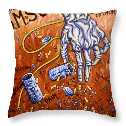 Pain Throw Pillow featuring the painting Dmso by Judy Henninger