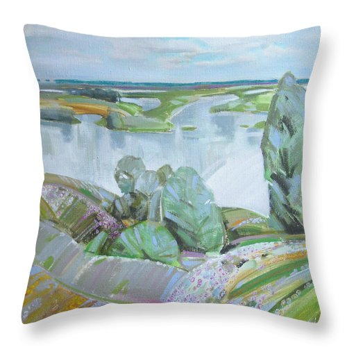 Landscape Throw Pillow featuring the painting Dnepro River by Sergey Ignatenko
