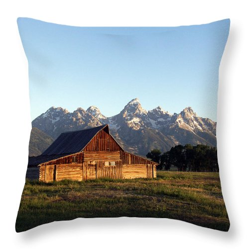 Landscape Yellowstone Grand Tetons Cabin Throw Pillow featuring the photograph Dnrd0104 by Henry Butz