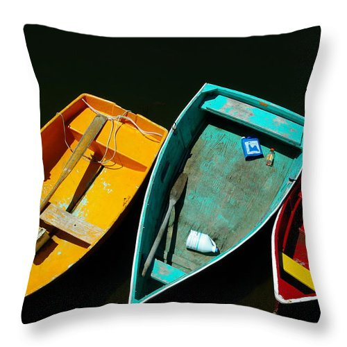 Landscape Nautical Row Boat New England Rockport Throw Pillow featuring the photograph Dnre0603 by Henry Butz