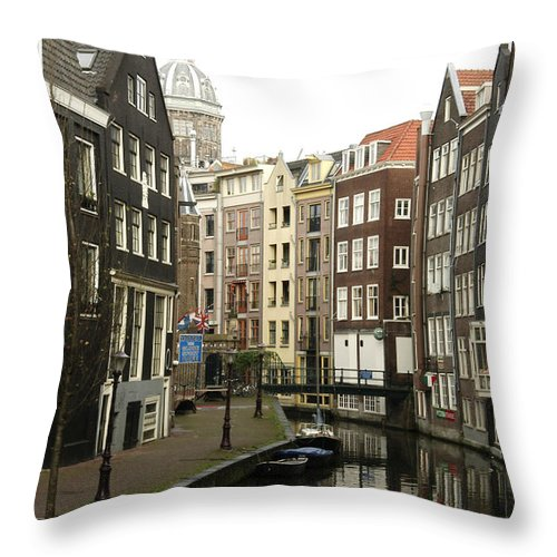 Landscape Amsterdam Red Light District Throw Pillow featuring the photograph Dnrh1101 by Henry Butz