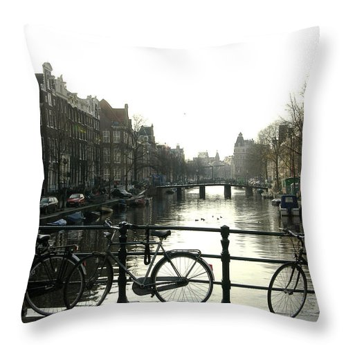 Landscape Amsterdam Red Light District Throw Pillow featuring the photograph Dnrh1103 by Henry Butz