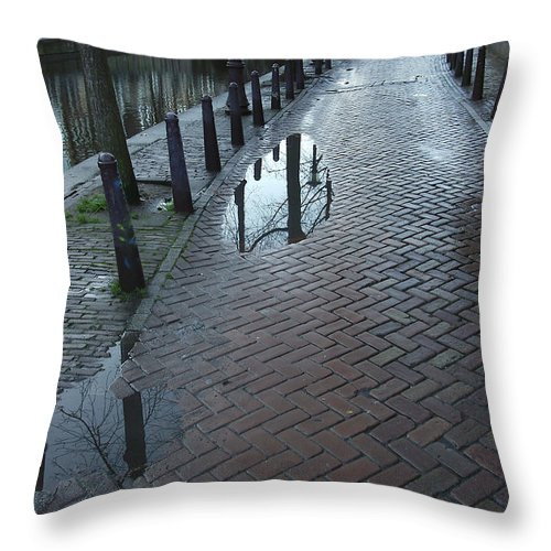 Landscape Amsterdam Red Light District Throw Pillow featuring the photograph Dnrh1109 by Henry Butz