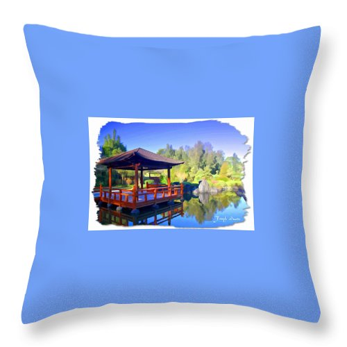 Shinden Style Pavilion Throw Pillow featuring the photograph Do-00003 Shinden Style Pavilion by Digital Oil