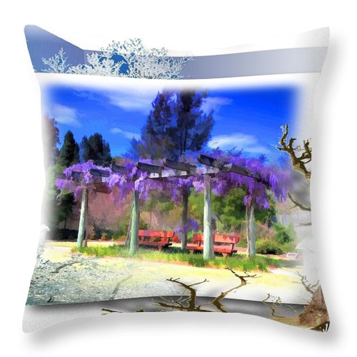 Wisteria Throw Pillow featuring the photograph Do-00013 Wisteria Branches by Digital Oil
