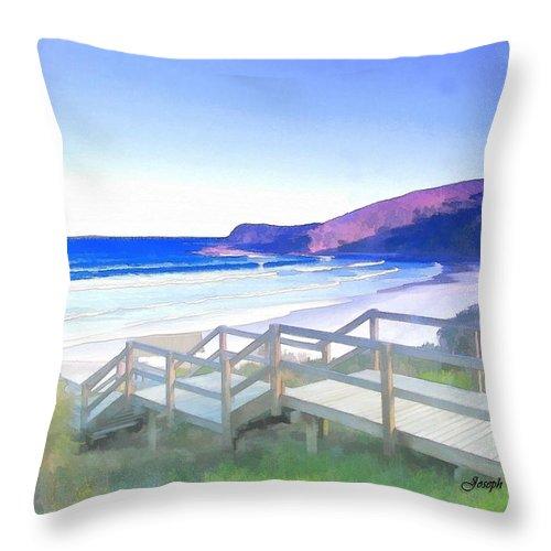 Frasier Beach Throw Pillow featuring the photograph Do-00103 Frasier Beach by Digital Oil