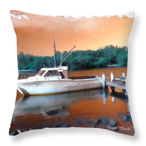 Boat Throw Pillow featuring the photograph Do-00108 Boat At Sunset by Digital Oil