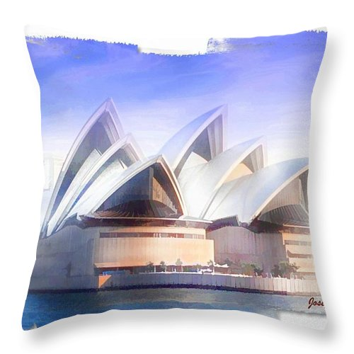 Sydney Opera House Throw Pillow featuring the photograph Do-00109 Opera House by Digital Oil