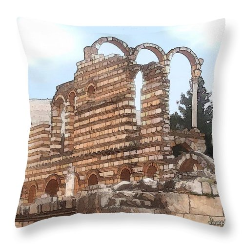 Ancient Throw Pillow featuring the photograph Do-00302 Ruins In Anjar by Digital Oil
