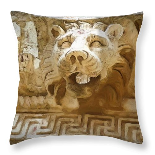 Roman Throw Pillow featuring the photograph Do-00313 Lion Water Feature by Digital Oil
