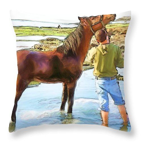 Horse In Mina Throw Pillow featuring the photograph Do-00421 Washing Horse In Mina by Digital Oil