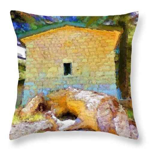 Building Throw Pillow featuring the photograph Do-00435 Building Surrounded By Cedars by Digital Oil