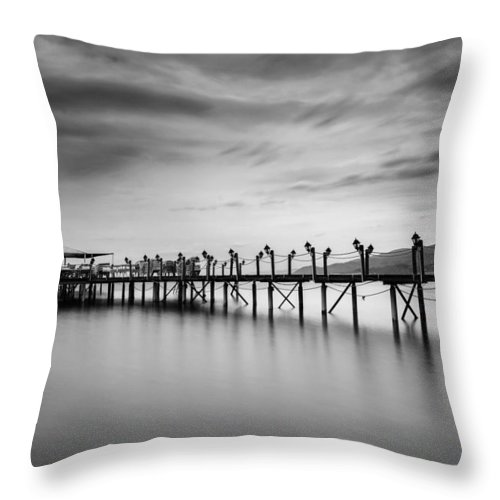 Dock Throw Pillow featuring the photograph Dock At Autumn by Dogukan Benli