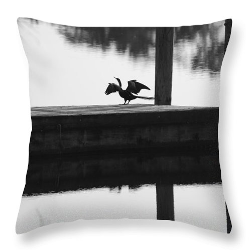 Black And White Throw Pillow featuring the photograph Dock Bird Pre Flight by Rob Hans
