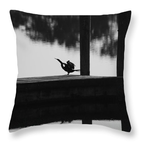 Dock Throw Pillow featuring the photograph Dock Bird by Rob Hans