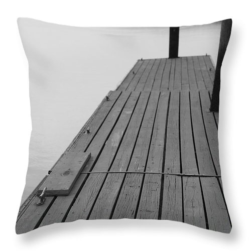 Dock Throw Pillow featuring the photograph Dock in Black and White by Nadine Rippelmeyer