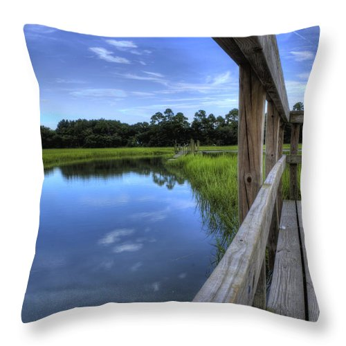 Lowcountry South Carolina Sky Reflection Dock Landscape Marsh Water Creek South Carolina Textures Throw Pillow featuring the photograph Dock Lines by Dustin K Ryan