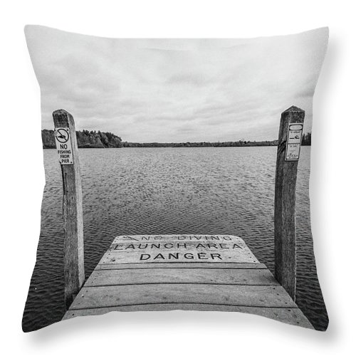 35mm Film Throw Pillow featuring the photograph Dock No Diving by John McGraw