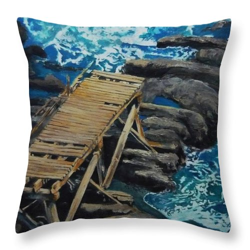 Dock Throw Pillow featuring the painting Dock by Travis Day