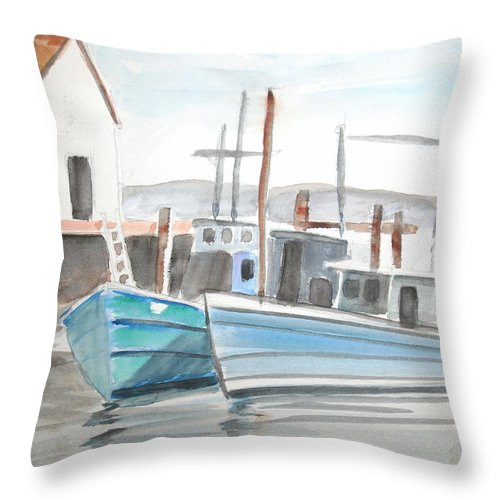 Landscape Throw Pillow featuring the painting Dockside by Scott Easom