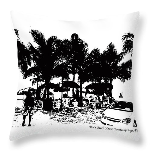 Beach Throw Pillow featuring the photograph Doc's Beach House by Laurie Paci