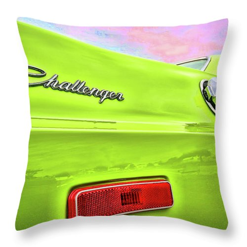 1972 Throw Pillow featuring the photograph Dodge Challenger in Sublime Green by Gordon Dean II