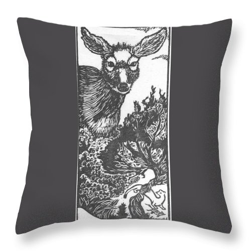 Animal Throw Pillow featuring the drawing Doe And Weasel by Dawn Senior-Trask