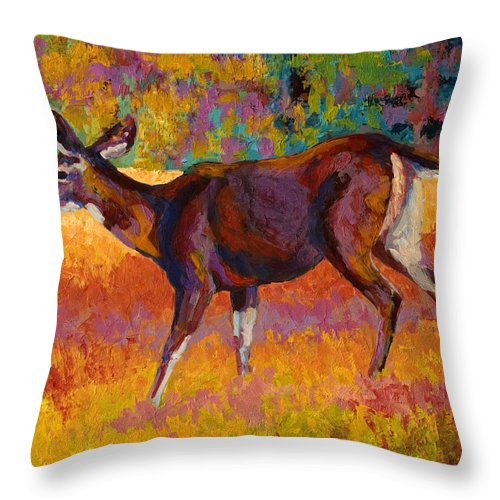 Deer Throw Pillow featuring the painting Doe IIi by Marion Rose