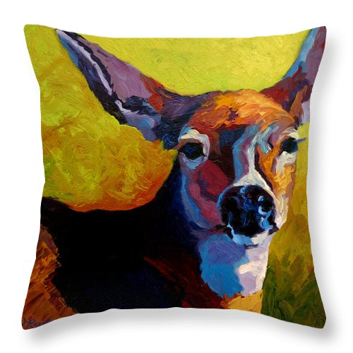 Western Throw Pillow featuring the painting Doe Portrait V by Marion Rose