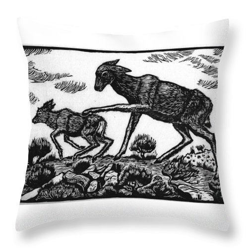 Animal Throw Pillow featuring the drawing Doe Spanking Fawn by Dawn Senior-Trask